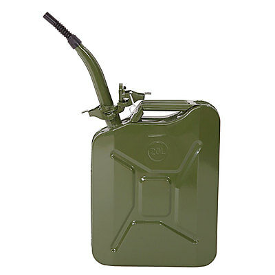 20L 5 Gallon Jerry Can Fuel Gas Steel Backup Tank w/ Spout Sealed HOT Army Green