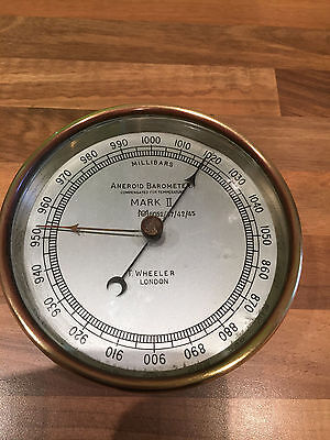 Vintage Brass WW2 Ships Meteorological Office Barometer Nautical Maritime Marine