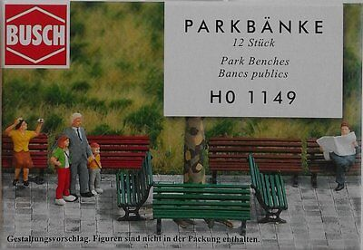 BUSCH 1149 Park Benches (12) 00/HO Model Railway Accessories