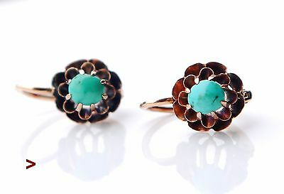 1920 Antique Austrian Earrings solid 14K  Rose Gold Turquoise / 2.2