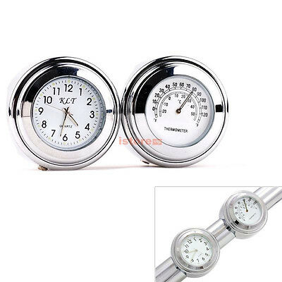 "7/8"" 1"" Handlebar Motorcycle Dial Clock & Thermometer For Honda Suzuki Yamaha"