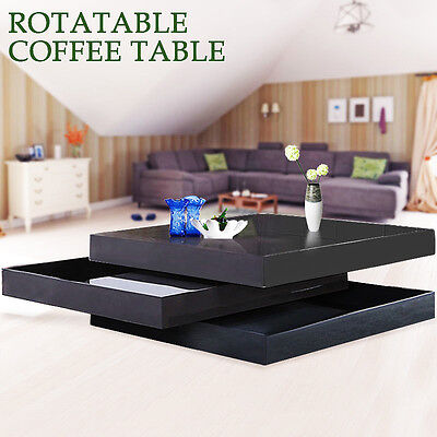 New High Gloss Balck Square Storage Rotatable Coffee Table With 3 Layers