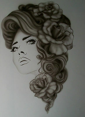 Women Lady Roses Step by Step Airbrush Stencil Template Craft Paint Reusable