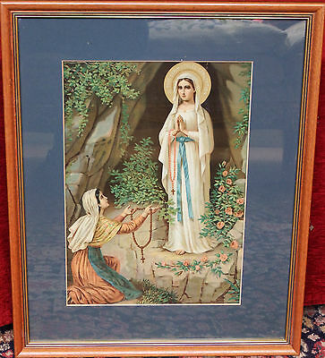 Stunning Large Victorian Chromolithograph, Madonna of the Immaculate Conception