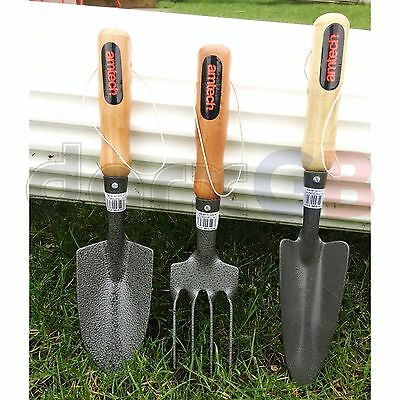 3 Pcs Garden Steel Hand Tools FORK,TROWEL & SHOVEL SET  Gardening Tools New