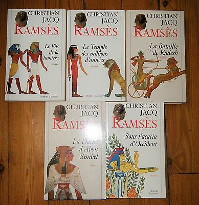 """Serie Complete 5 Tomes """"ramses"""" Christian Jacq Egypte Ancienne Laffont"""