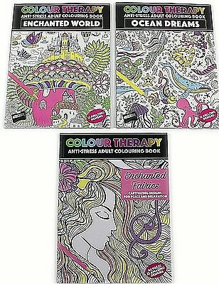 NEW Adult Colouring Therapy Anti-Stress 64 Page A4 Books Relaxation 3 Choices