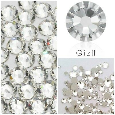 Swarovski 100 x ss12 CLEAR GLUE ON Crystals Diamantes Rhinestones Flatbacks