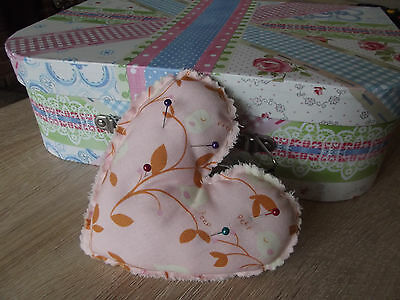 Hand Stitched Bird Print Heart Shaped Pin Cushion in Pink