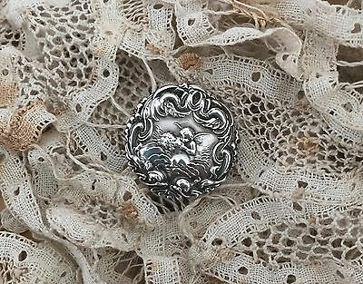 Antique SILVER BUTTON CUPID & PSYCHE 1902 Levi and Salaman,