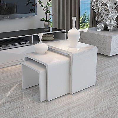 High Gloss Nest of 3 Table White Coffee Table Side Table Living Room