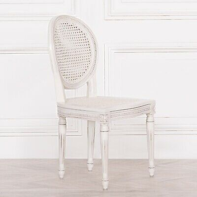 French Style Shabby Chic Chateau Louis Carved Classic White Rattan Dining Chair