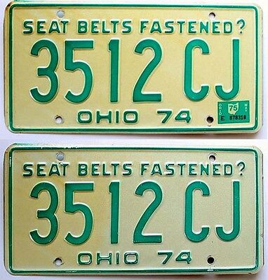 Ohio 1974 1975 License Plates Pair VERY GOOD for Ford, Chevy, Dodge, Jeep CJ
