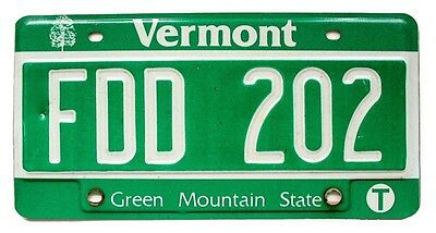 "Vermont ""Green Mountain State"" License Plate, FDD 202, Debossed, Garage Man Cave"