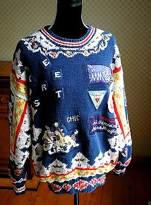 "Ultimate Vintage Original 90's Avec Ce Pull ""jump Knitwear"" Ecussons Broderies"
