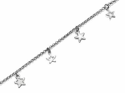 F.Hinds Womens Jewellery Sterling Silver Star Charms Belcher Chain Anklet - 10""