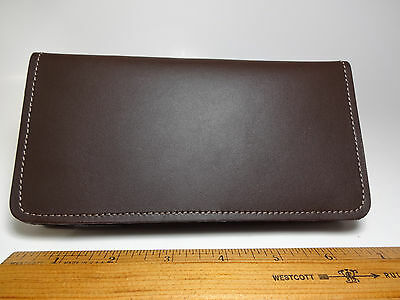 North Star Brown Side Tear Leather Checkbook Cover-Made In USA-Fact. Second#130