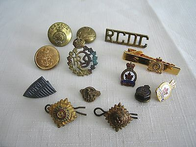 Lot PINS Buttons BADGE Military British WWII Tria Juncta In Uno RCDC Legion RCMP
