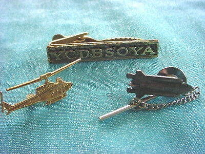 FUN LOT Of Vintage Gold & Silver Tone TIE BAR PIN Helicopter US Shuttle YCDBSOYA
