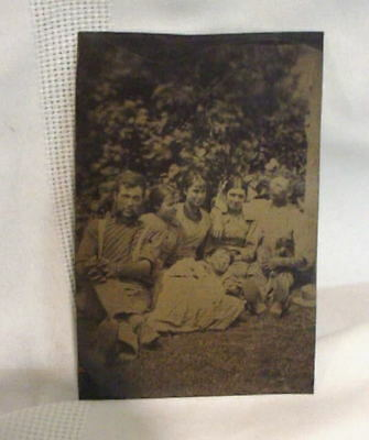 Antique TINTYPE Photo Outside FAMILY Father Children
