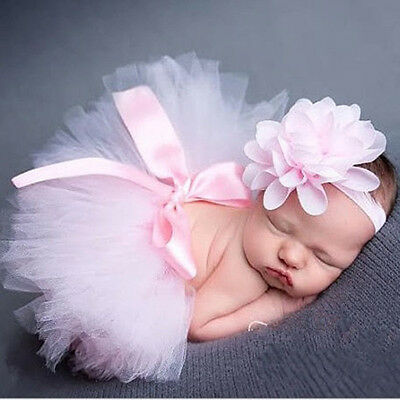 Newborn Baby Tutu Skirt with Headband Set for Baby Photography Prop