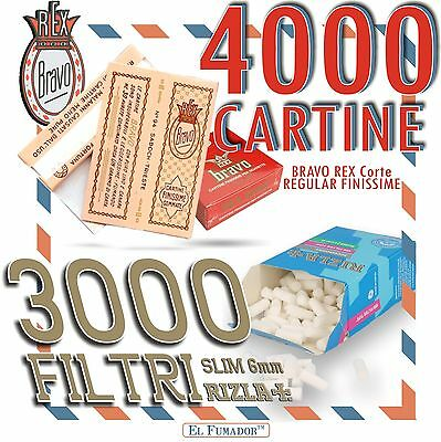 4000 CARTINE BRAVO REX CORTE REGULAR FINISSIME + 3000 FILTRI RIZLA SLIM 6mm