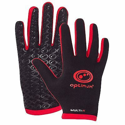 Optimum Sports New Rugby League Union Multi-X Full Finger Gloves - Black/Red