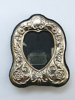 Vintage-Solid Silver Victorian Style Love Heart Photo Frame-VGC-Sheffield-c1997