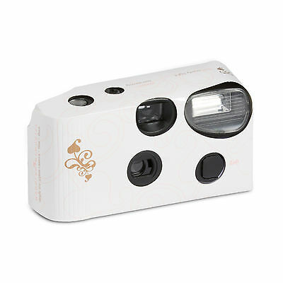 White Disposable Cameras With Flash Memories Gold Swirl Design Pack of 8