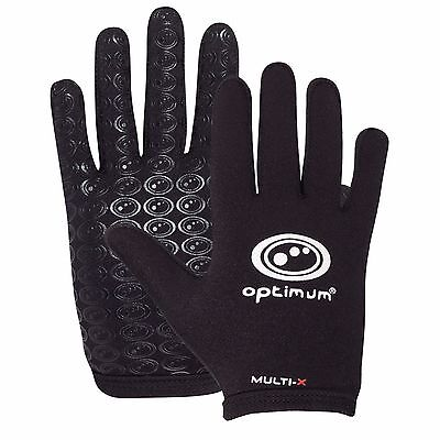 Optimum Sports New Rugby League Union Multi-X Full Finger Gloves - Black