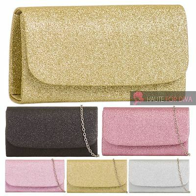 Ladies New Shimmer Glitter Metail Chain Evening Prom Clutch Bag Purse