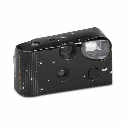 Black with Stars Disposable Cameras with Flash Party Pack of 5