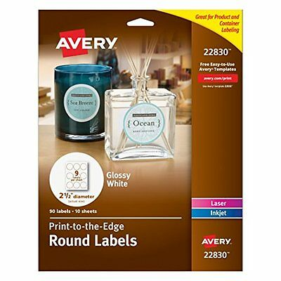 """Avery Print - To - The - Edge Round Labels Glossy White 2.5"""" Diameter, 90 Labels"""