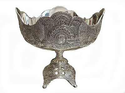 Silver Plated Fruit Bowl  Footed Pedestal Centerpiece Oriental Vintage Gift