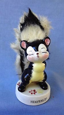 "VINTAGE SKUNK LADY FIGURINE With Her Fur Trim, She is ""Heavenly""!"