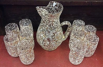 West Virginia Glass Retro Gold White Black Overlay Speckled Pitcher & 10 Glasses