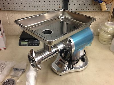 Omcan Meat Grinder 21634, Stainless Steel Aluminum, Commercial Grade, Reverse