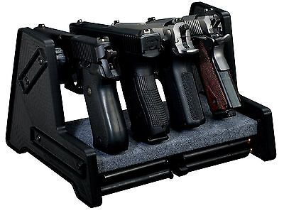 4 Position Pistol Storage Hand Gun Rack Holder Stand & Ammo Shelf Safe Cabinet