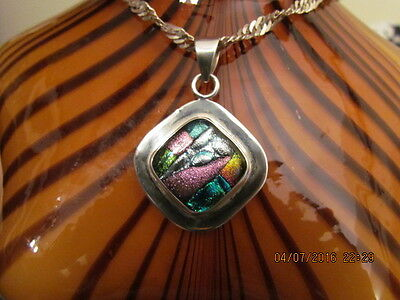 Vintage Modernist Signed 950 Sterling Silver Dichroic Glass Necklace