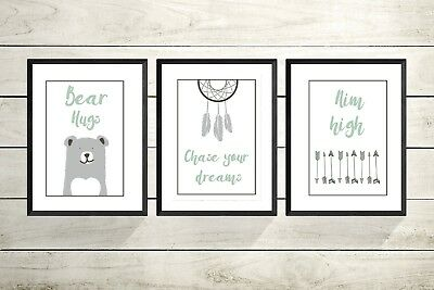 Set of 3 A4 Print Nursery Prints -new Baby Gift- Christening Gift-