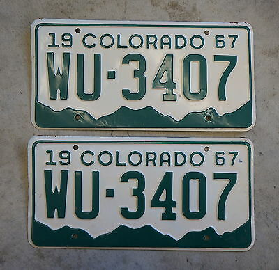 1967 Colorado License Plate Tags PAIR / SET - Lot of 2 Unissued