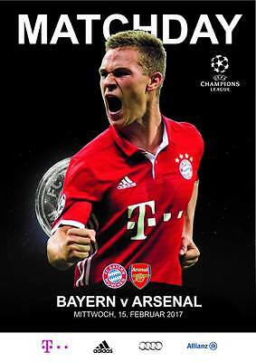 Progrramme Bayern v Arsenal 15.02.2017 Champions League. Unofficial
