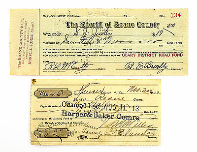 2 diff. old West Virginia bank checks 1910's-1920's nice used