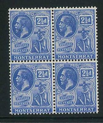Montserrat 1922-9 KGV 2½d bright blue mint block of 4