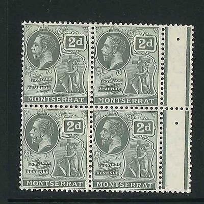 Montserrat 1916-22 KGV 2d marginal mint block of 4