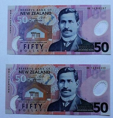 2 x 50 Dollars $50 2014 New Zealand Bills UNC Consecutive Serial Numbers Polymer