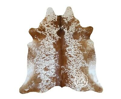 New Brazilian Cowhide Rug Leather BROWN SALT AND PEPPER 6'x6' Cow Hide
