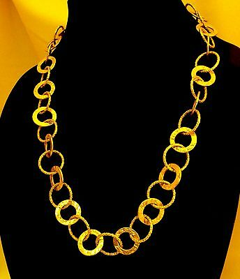 """STUNNING Romanza Italy 241/2"""" 14KT Heavy Plated Necklace W/Large Textured Links"""