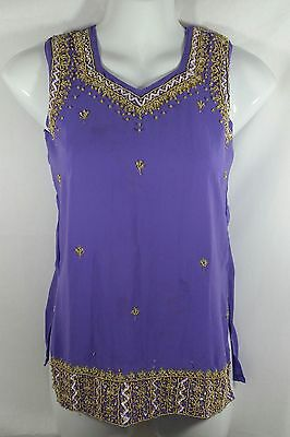Indian Bollywood Sleeveless Top Kurti Small 28 Jewel Purple Gold Beading Silk