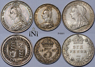 iNi  Great Britain, Victoria, Sixpence (x2), 3d, 1887, 1901, Toned, up to UNC
